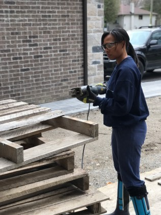 Prepping to disassemble the pallets