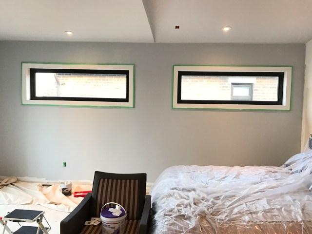 Master bedroom makeover progress - walls painted PARA Sterling Spoon (PF71)