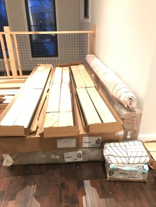 Our growing pile of materials for the bedroom