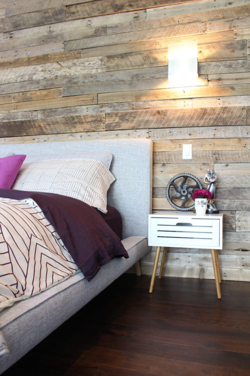 Reclaimed pallet wood wall with modern nightstand | Dream Bedroom Reveal - The Dreamhouse Project