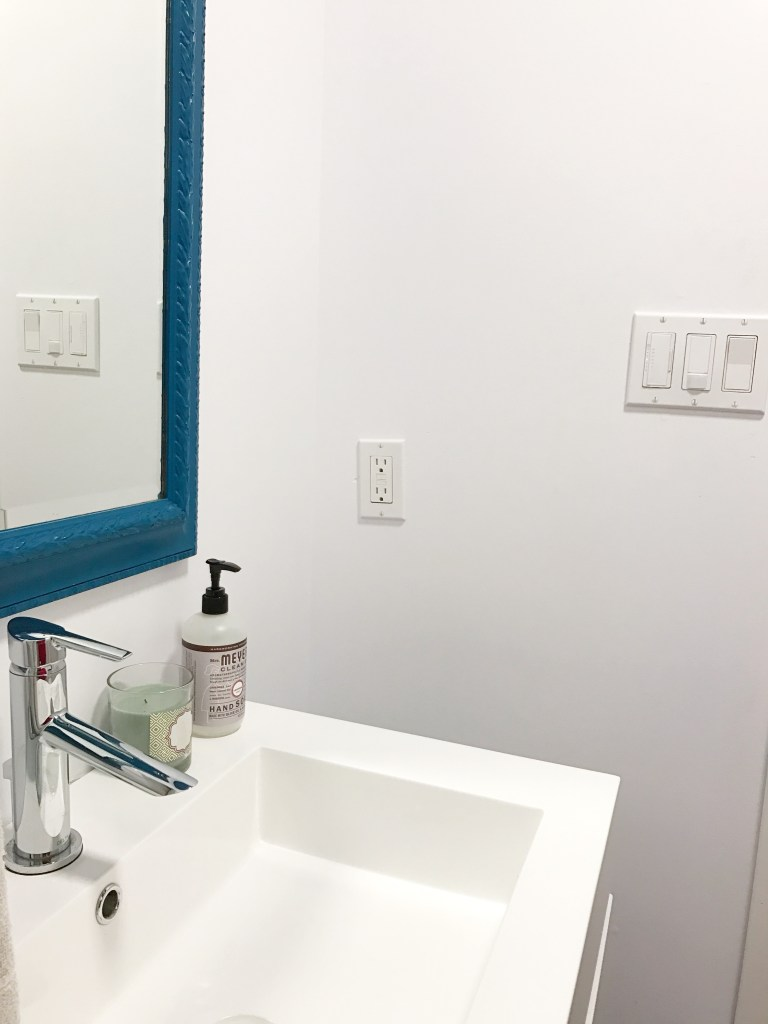 After: New eco-friendly switches installed in the powder room