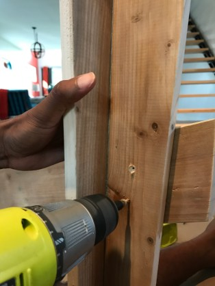 Drilling countersink holes to screw in arm supports