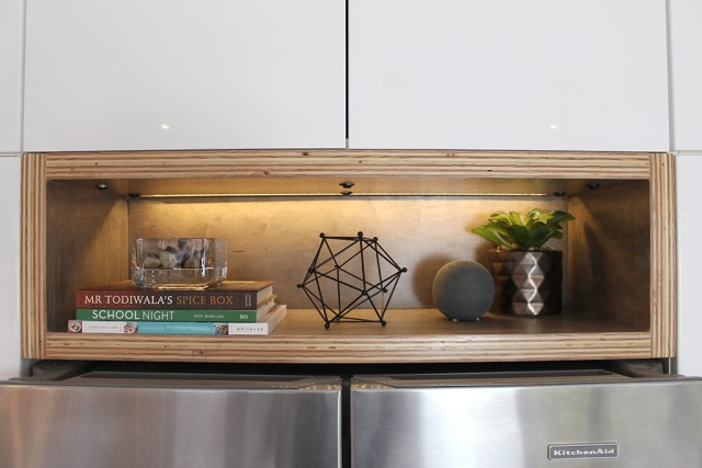 The Dreamhouse Project - Revealing our Dream Kitchen - DIY open shelving storage box display