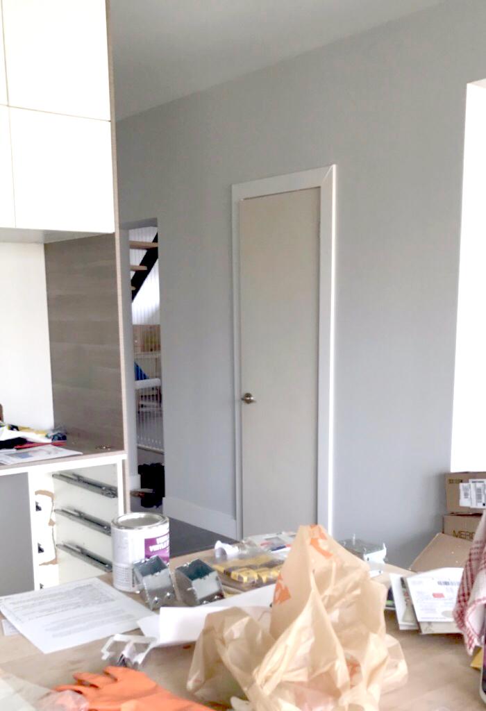Powder room door - before