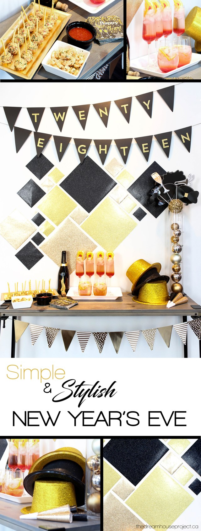 Simple Stylish New Year's Eve with black, gold & glitter decor | The Dreamhouse Project