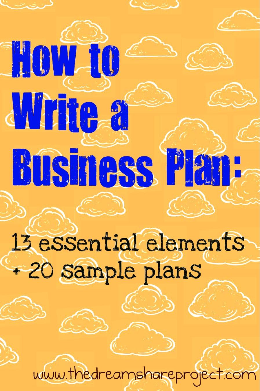 writing a business plan for restaurants