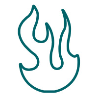 The streetlight kitchen and bar flame image outline icon that is for the streetlight kitchen and bar category of the market web store.