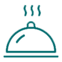 The steaming rounded serving platter outline icon that is for the special occasions by drexelbrook catering category of the drexelbrook market webstore.