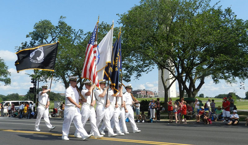 Color Guard with POW/MIA flag outside of formation