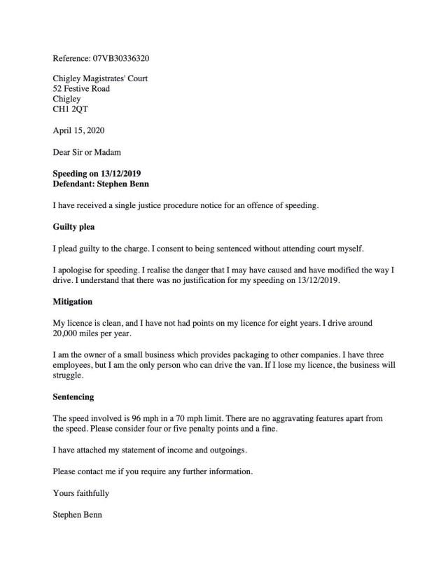 Letter of Mitigation for Speeding  Stephen Oldham Solicitors