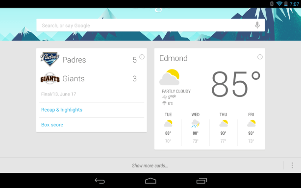 Google Now Home Screen