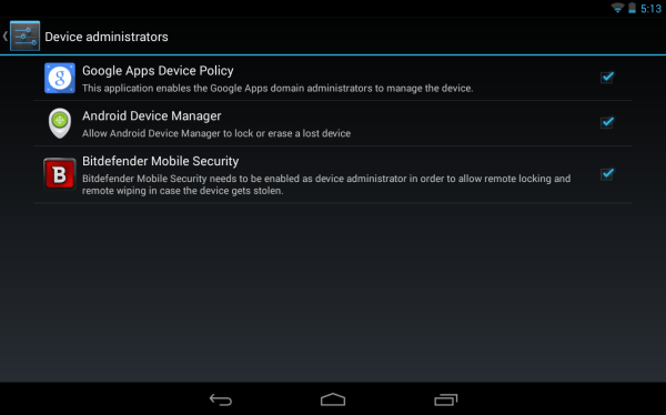 Android Device Manager as an Android Device Administrator