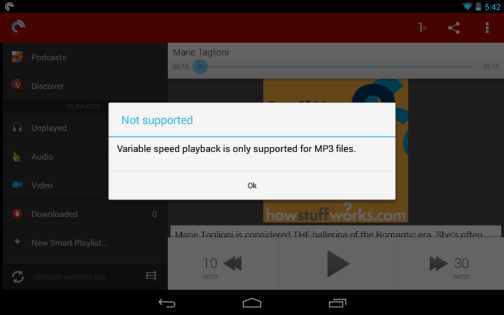 Variable Speed Playback Error Message in Pocket Casts