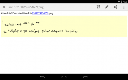 Handrite Note in Evernote