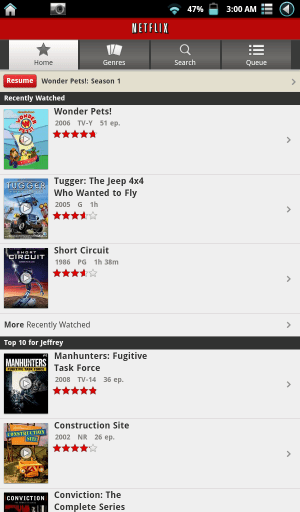 Netflix Android Screenshot Running on Brilliant Colors ROM