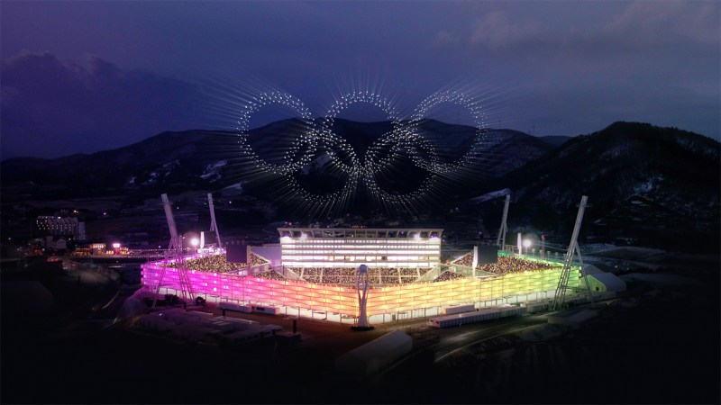 intel olympics drone light show south korea rings