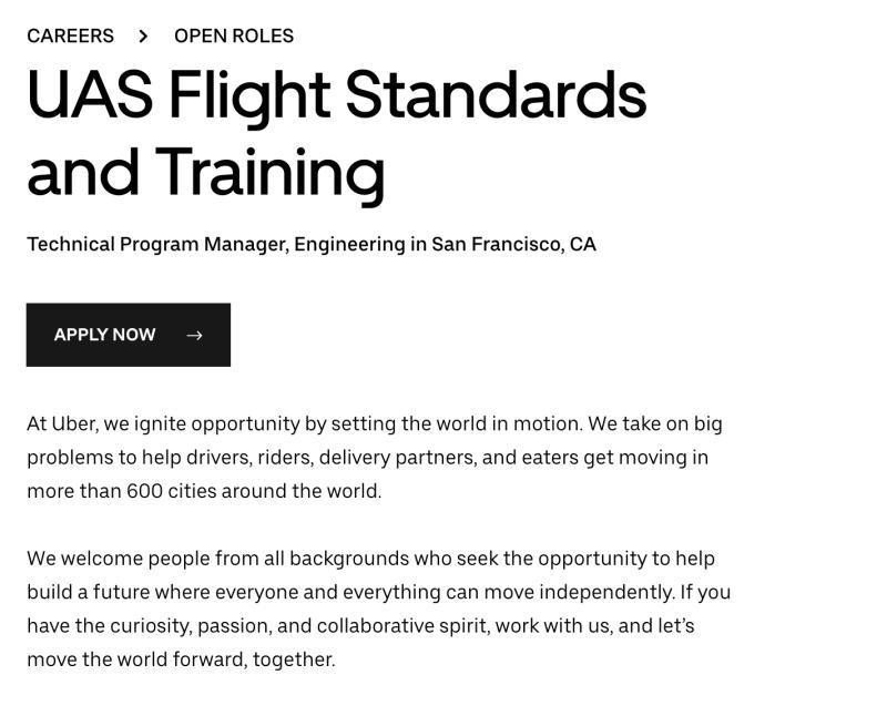 Uber UberEats drone pilot san francisco hiring job