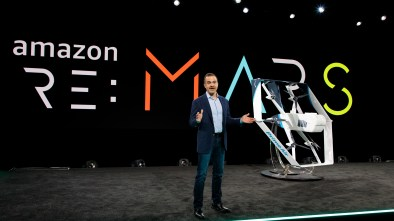 Amazon Prime Air drone in Las Vegas at re:MARS event attended by Robert Downey Jr.