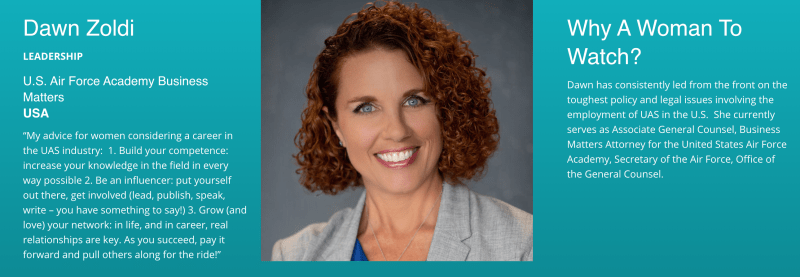 Leadership Honoree - Dawn Zoldi of the U.S.A. 2019 Women to Watch in UAS