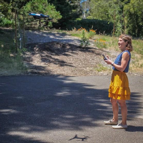 Skydio 2 flying the drone girl sally french crash follow me