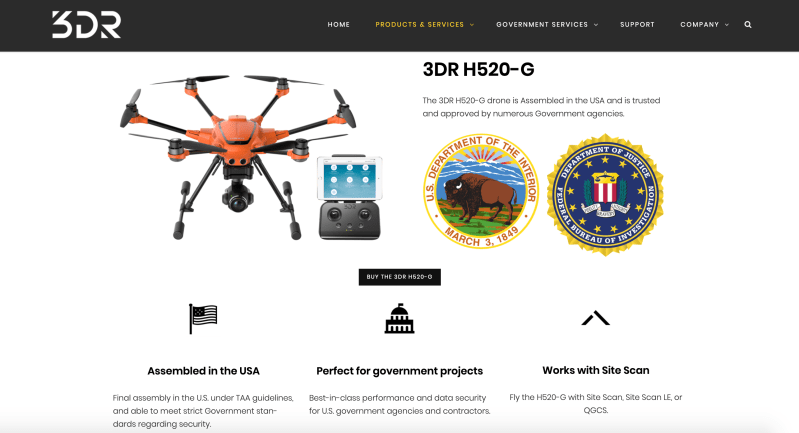 American drone companies 3DR H520-G made in USA