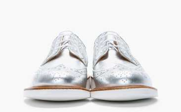 MARK MCNAIRY – METALLIC SILVER LEATHER BROGUE SHOES