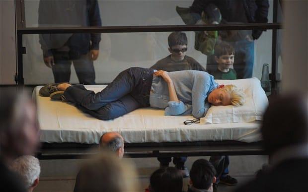 Tilda Swinton at MoMA – Sleeping In A Box