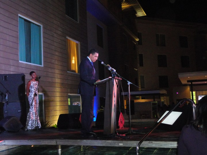 "Prime Minister Andrew Holness with the Evening's Host, BloggerToni ""Bella"" Blair"