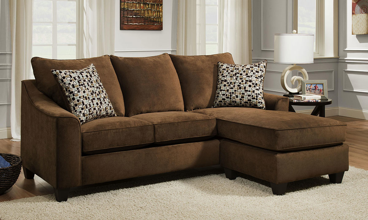 Lounge Couch Handmade American 90-inch Brown Sofa With Reversible ...