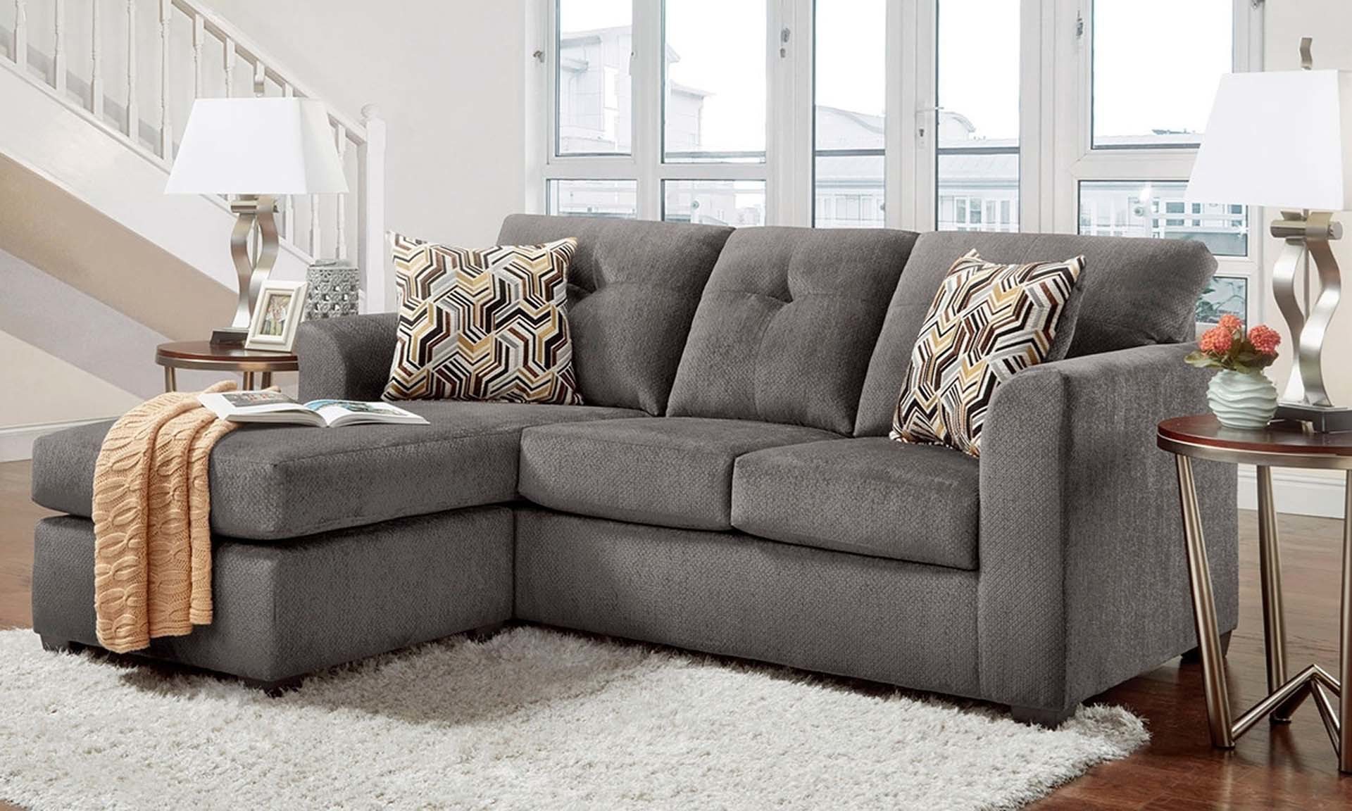 Lounge Couch Kelly Sofa With Chaise In Grey | The Dump Luxe Furniture ...