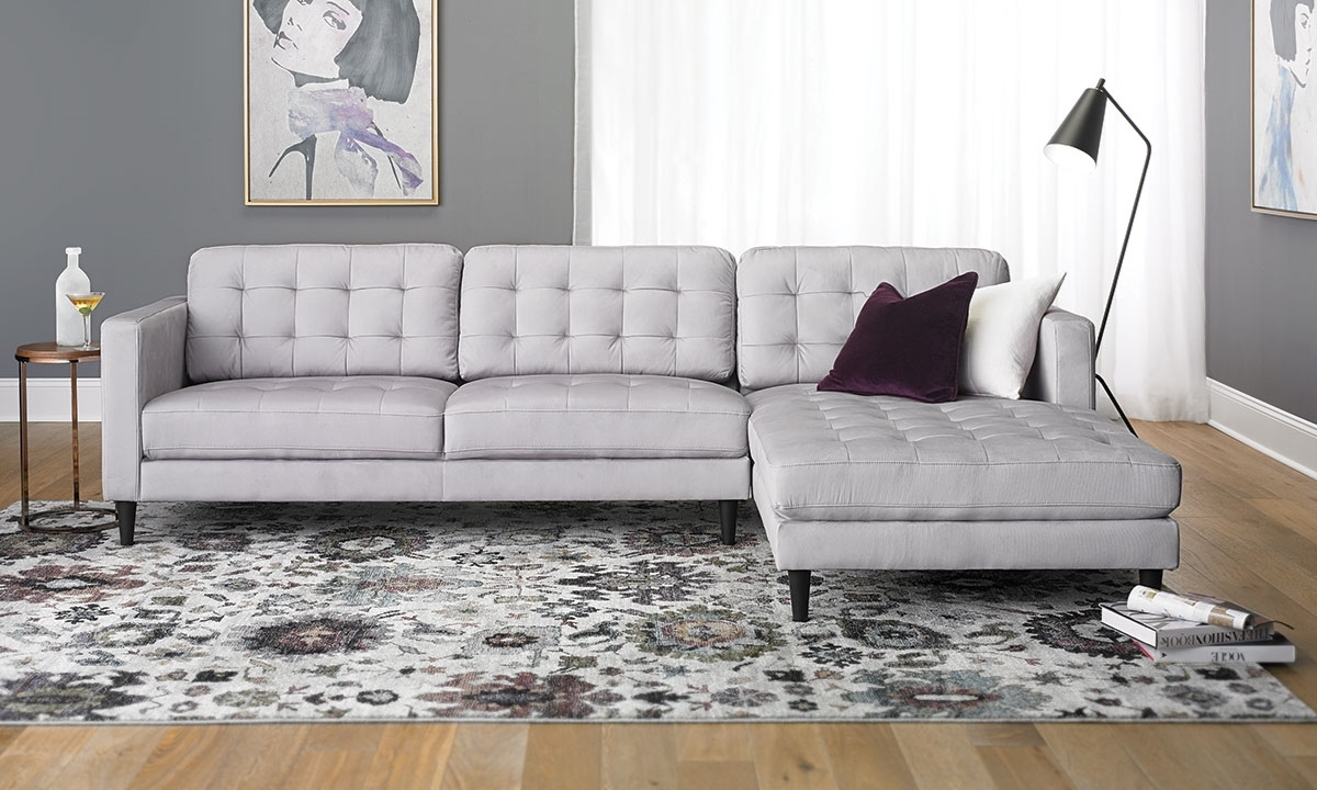 Lounge Couch Contemporary Tufted Sofa With Oversized Chaise In Light ...