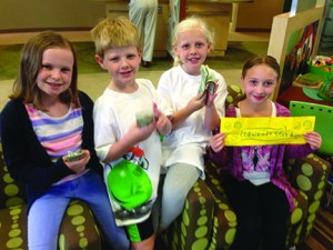 These youngsters sponsored a lemonade stand in conjunction with the efforts of Fidelity Bank to help victims of a fire in Green Ridge. The kids raised $177.64 for the cause. Shown from left are: Maggie Young, Gabe DeScipio, Olivia DeScipio and Corgan Carr.
