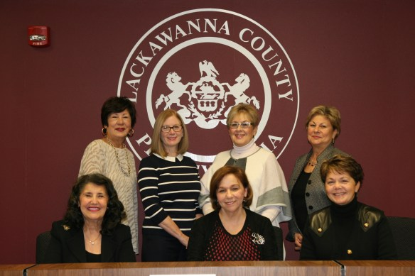 Seated from left to right are: Jemille A. Zaydon, commission past president; Donna Barbetti, commission president; and Judy Cosgrove, breakfast chair.   Standing from left to right are: Marie Santilli, breakfast co-chair; Kris Pocius; Marilyn Vitali Flynn, secretary; and Marie Ciuferri.
