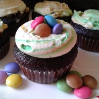 Smarties Surprise Cupcakes With Rainbow Frosting
