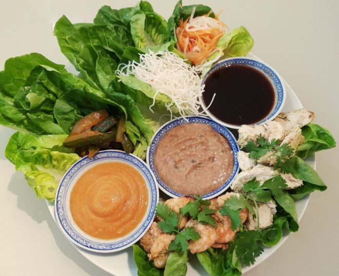 asian prawn and chicken lettuce wraps