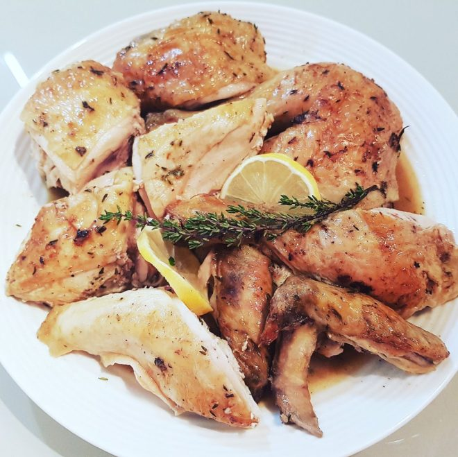 Spatchcock lemon and thyme chicken