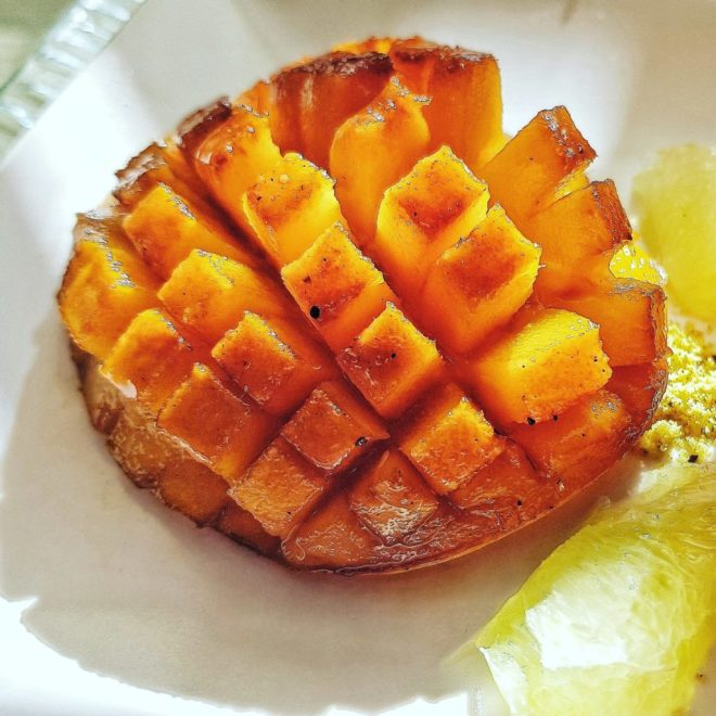 Caramelized mango hedgehog