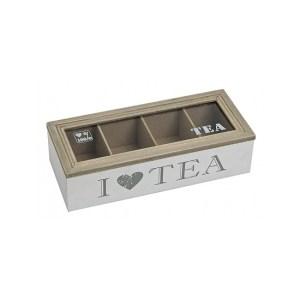 Witte houten theedoos met 4 vakken I love tea