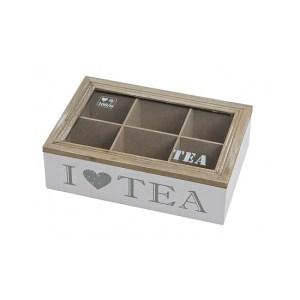 Witte houten theedoos met 6 vakken I love tea