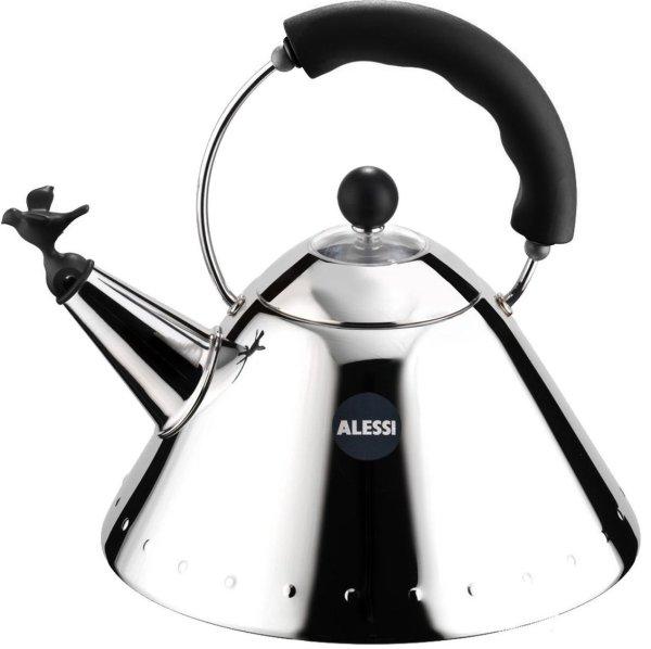 Alessi fluitketel 9093 (Kleur: zilver/zwart)