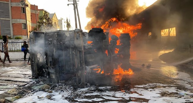 Obalende fire NNPC commiserates with victims of Lagos fuel tanker fire incident