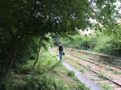 A motorbiker checks out the platform