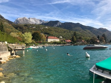 Here's host Oliver bravely swimming in Lake Annecy