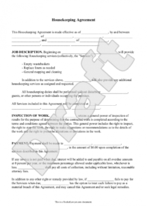 Housemaid Contract Agreement Sample