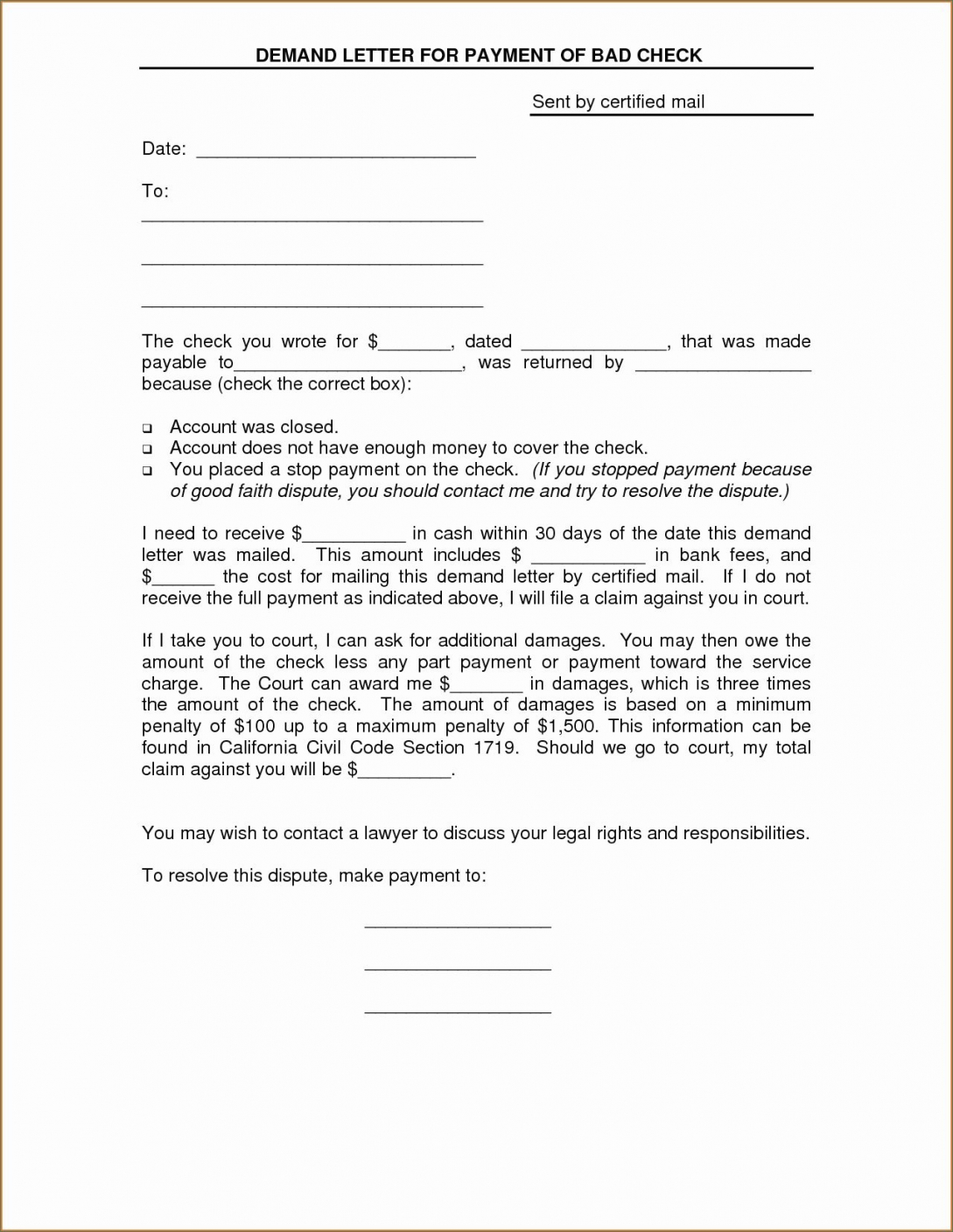 Free Letter Format For Stop Payment To Bank New Bad Check