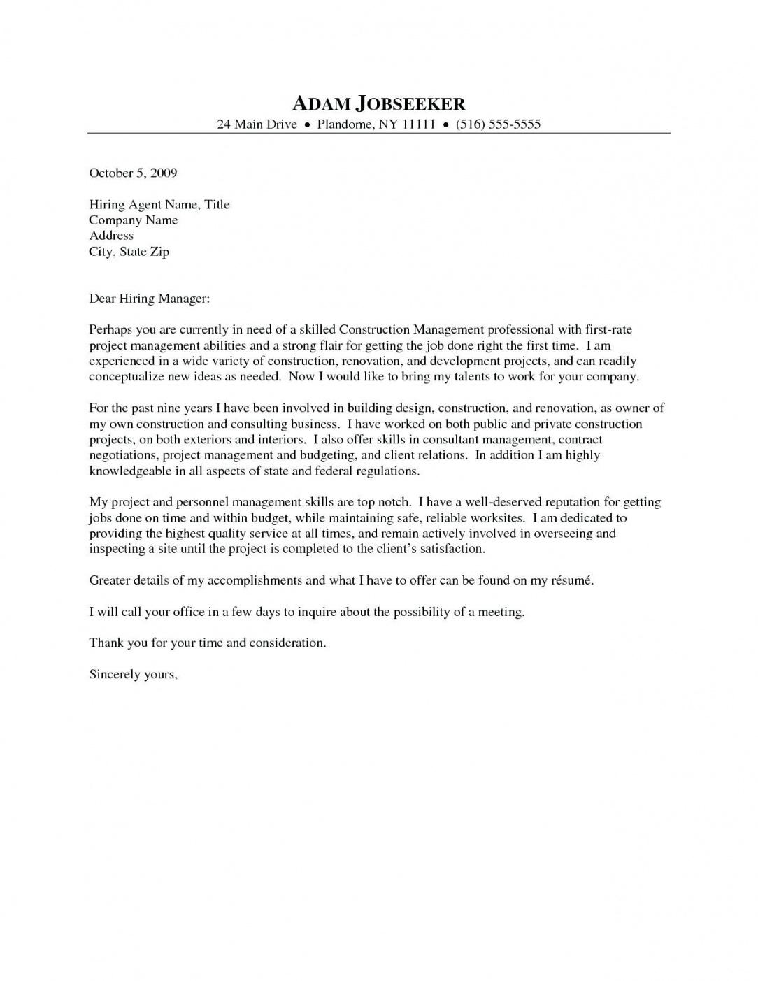 Free Sample Of Cover Letter Free Sample Cover Letter For Project Manager Job New Construction