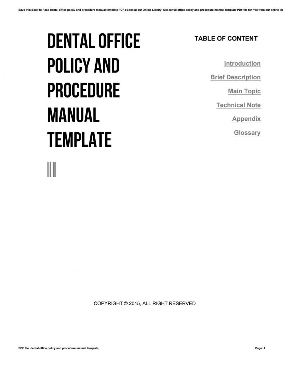 Free Dental Office Policy And Procedure Manual Template By