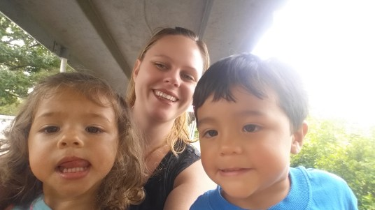 city lake park selfie with twins on train