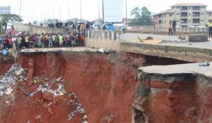 Erosion site at Nkpor on  Onitsha-Enugu expressway