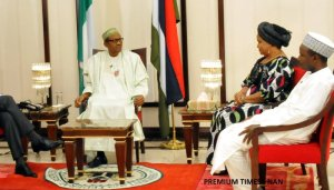 Buhari during the presidential media chat/ (Credit: Premium Times)